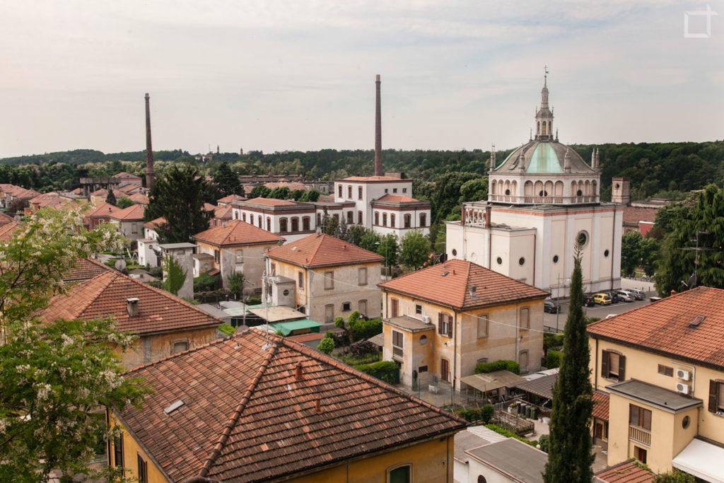 Crespi d'Adda dall'alto - Chiesa e ciminiere