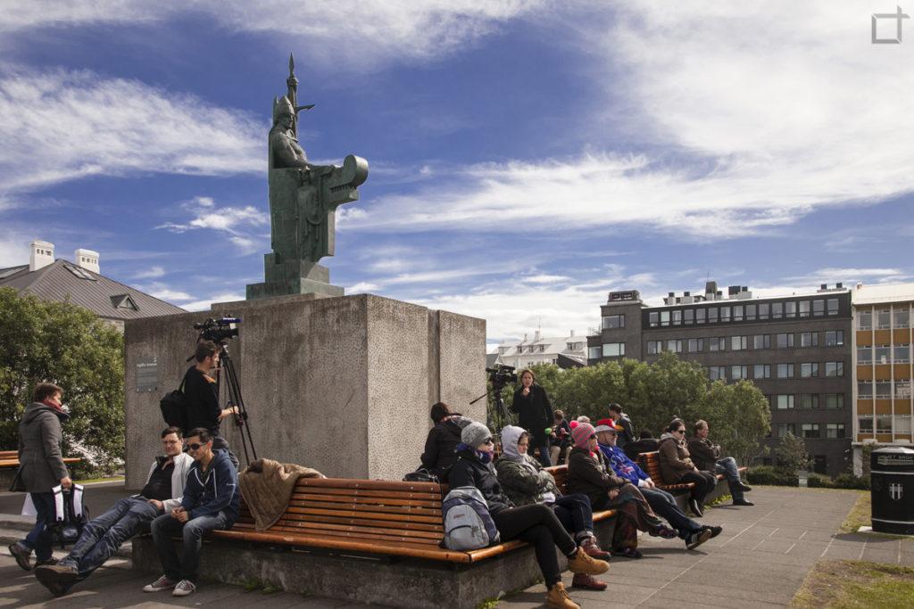 collina arnarholl con statua di Ingólfur Arnarson