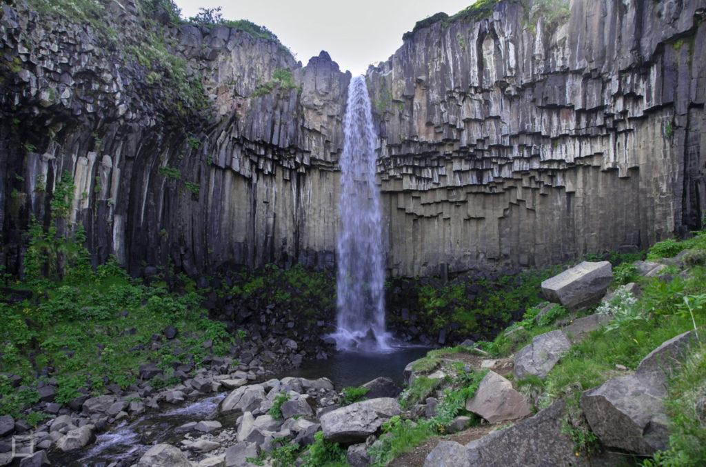 Svartifoss Cascata Colonne Basalto nello Skaftafell