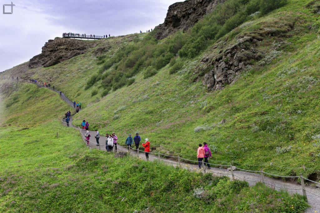 Turisti sul Sentiero a Gullfoss