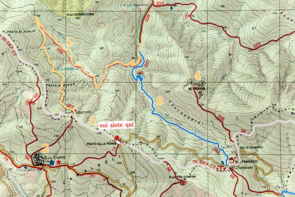 Mappa del Trekking - Sentieri CAI 227 229 e 00
