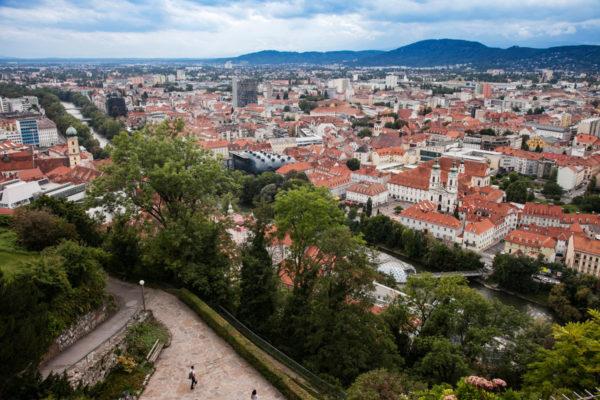 Centro Storico di Graz dall'alto - Panorama sulla regione della Stiria