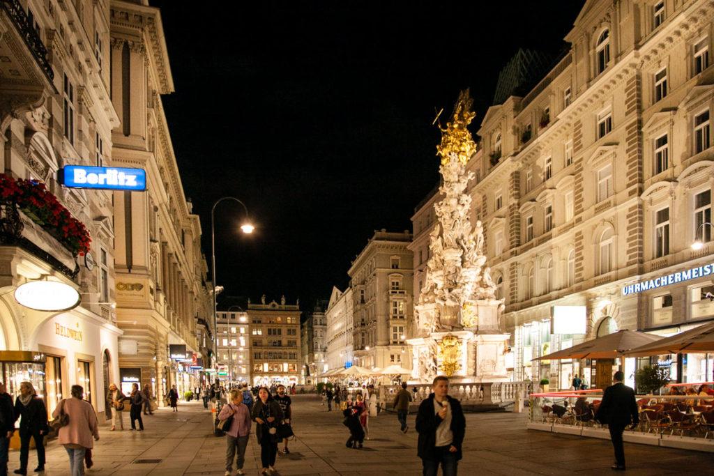 Graben e Colonna della peste di sera - Vienna