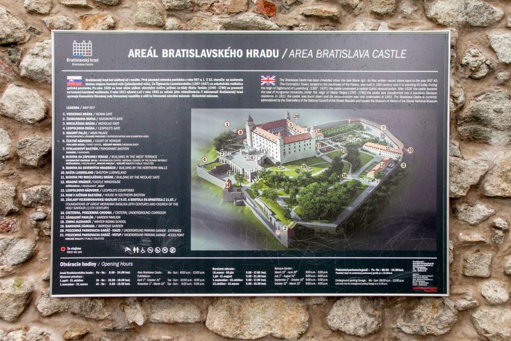 Mappa del Castello di Bratislava