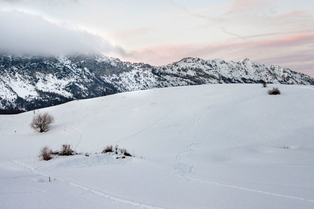 Montagna Innevata al Tramonto