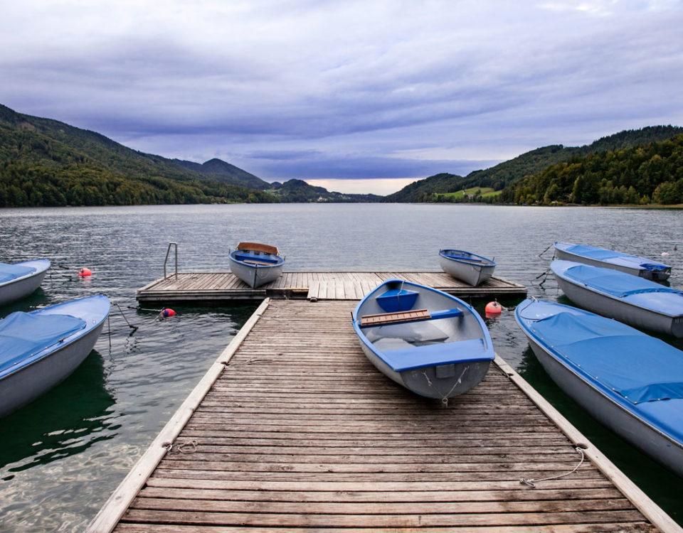 Barche parcheggiate al tramonto - Viaggio in Austria