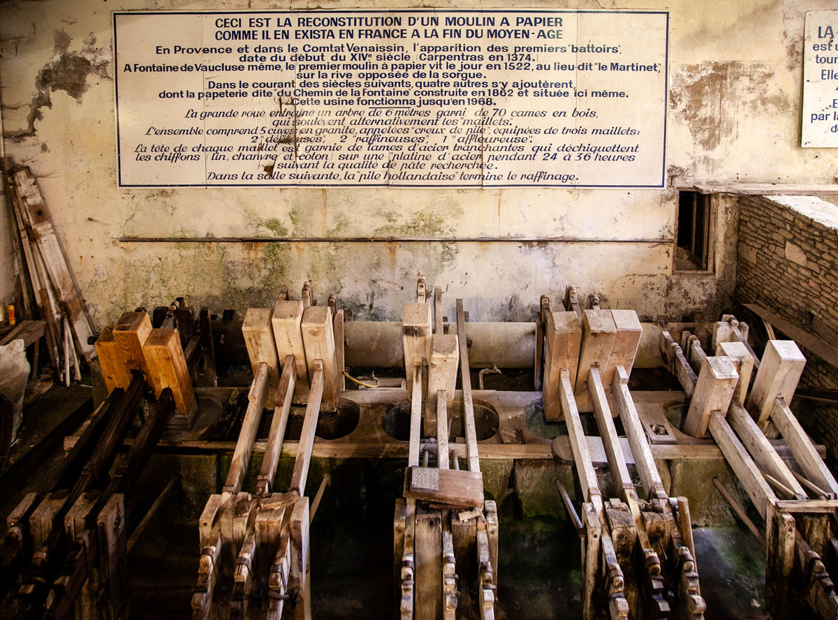 La cartiera dentro al mulino di Fontaine de Vaucluse