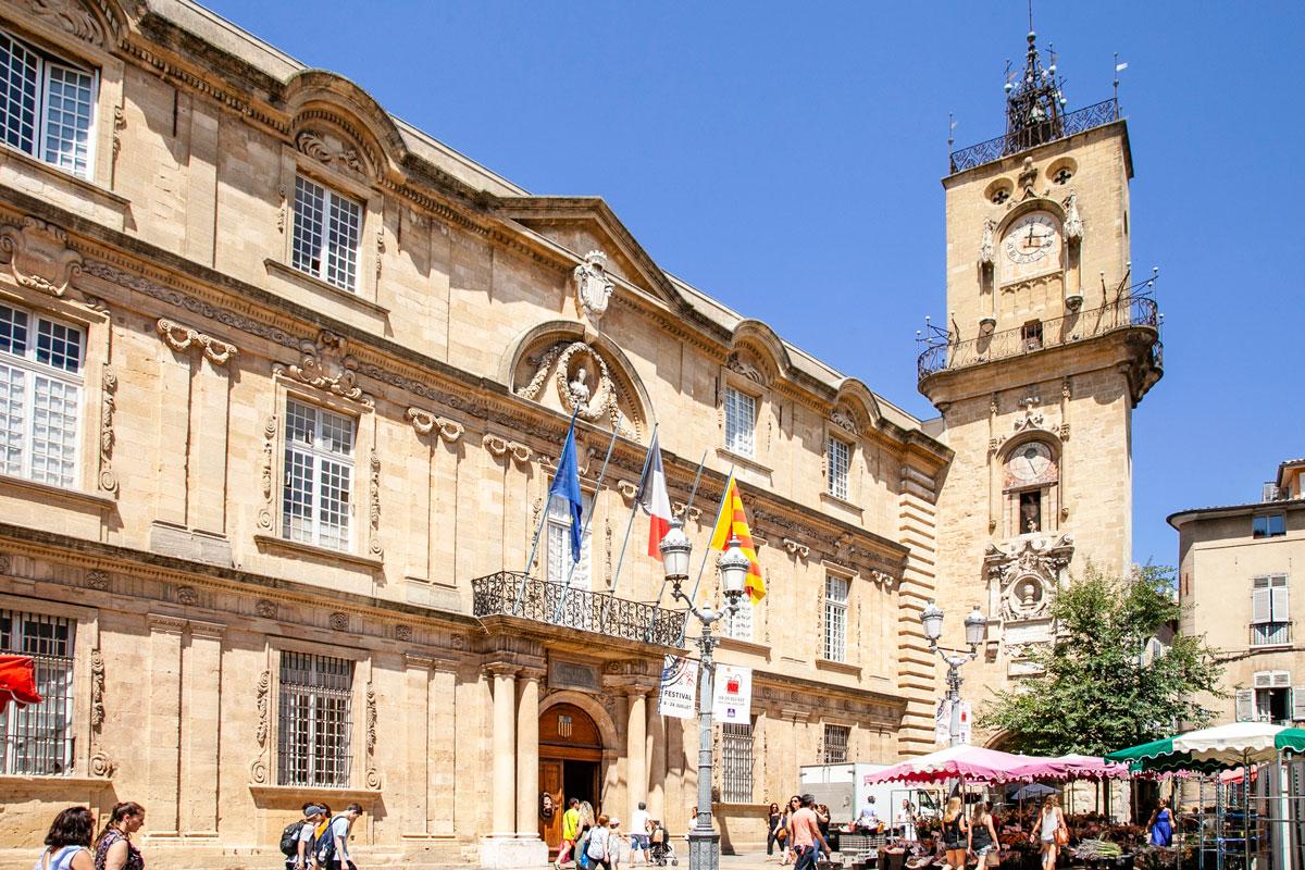 Palazzo dell'Hotel de Ville di Aix en Provence e Torre dell Orologio