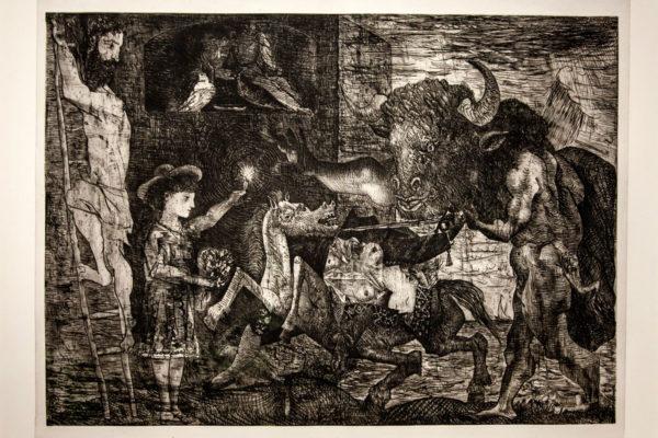 Disegno dark di Picasso con Minotauro - Arianna tra Minotauro e Fauno