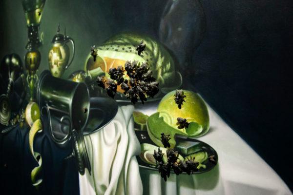Life with Flies - Quadro con mosche in plastica