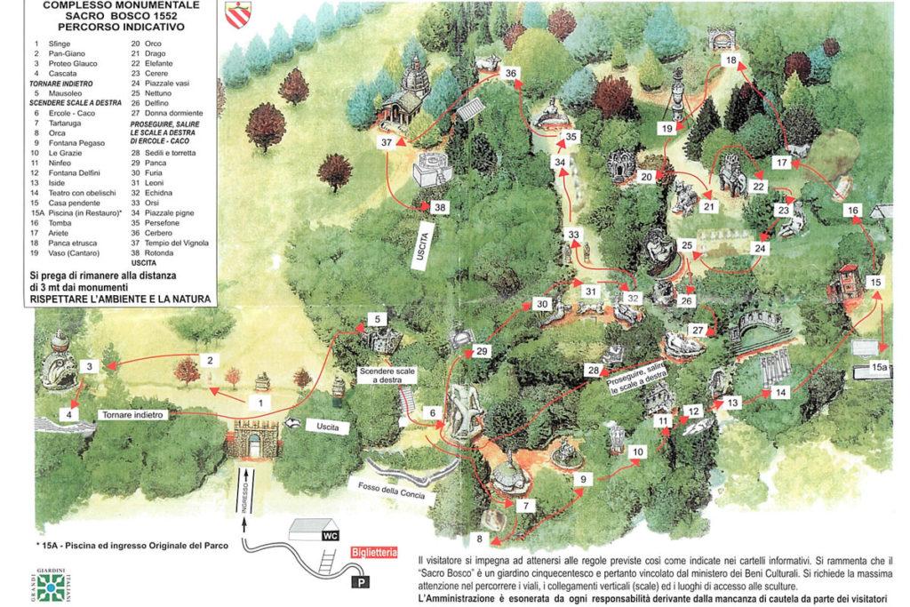 Mappa Parco dei Mostri di Bomarzo