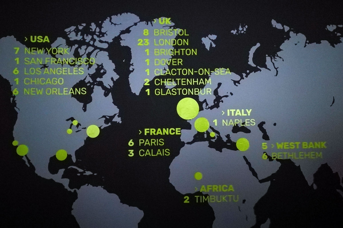 Mappa dei luoghi in cui sono state avvistate le opere di Banksy