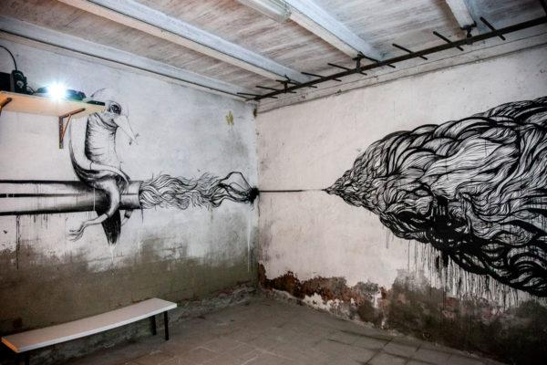 Murales dentro ex magazzino delle carni - Cortona
