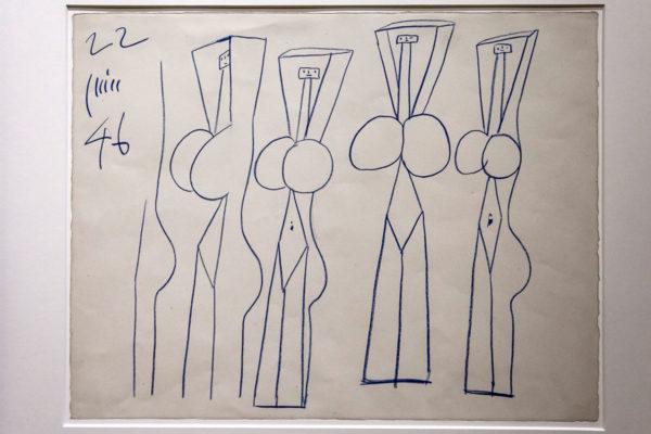 Pablo Picasso - Prova disegno donne dalle braccia alzate