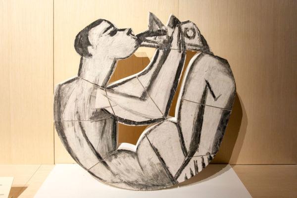 Picasso - Lastre unite - Suonatore di flauto seduto