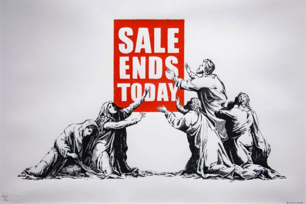 Sale Ends Today - Messaggio sul consumismo e sulla condizione di dipendenza che crea