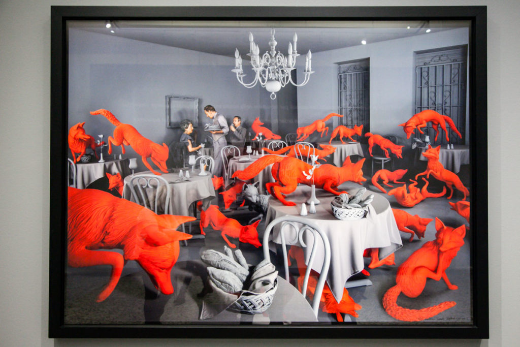 Fox Games - 1989 - Volpi rosse su sfondo grigio - Staged Photography di Sandy Skoglund