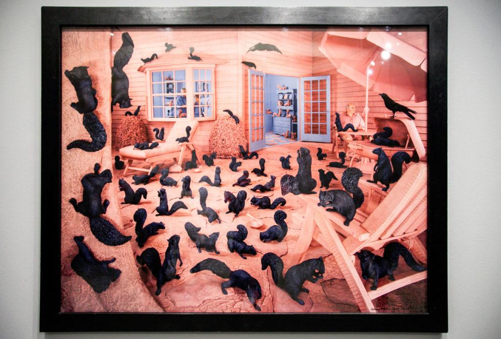 Gathering Paradise - 1991 Scoiattoli neri in un giardino Rosa