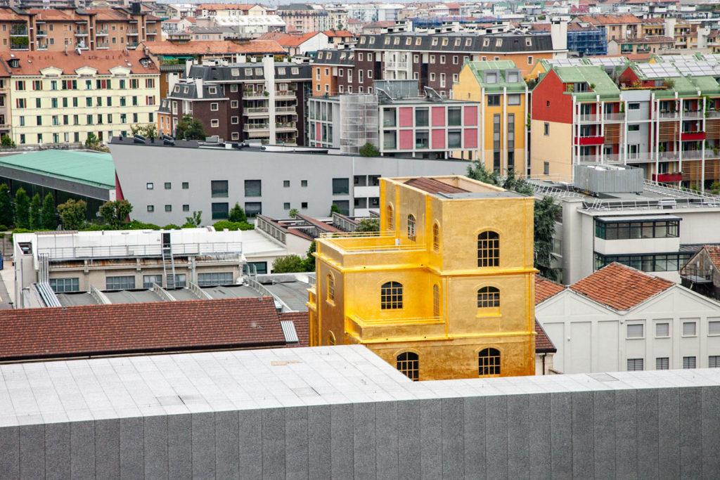 Panorama su Haunted House di Fondazione Prada vista da Ascensore della Torre