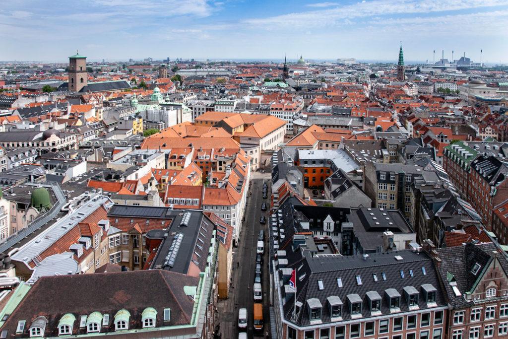 Panorama dall'alto della torre del municipio