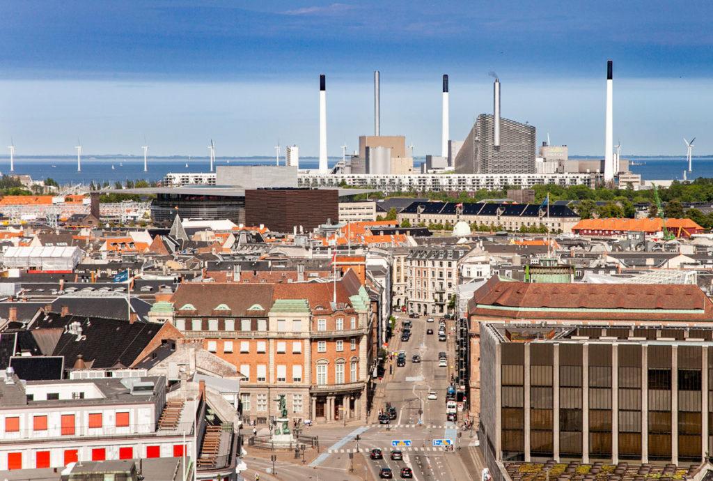 Panorama su Copenaghen verso il mare