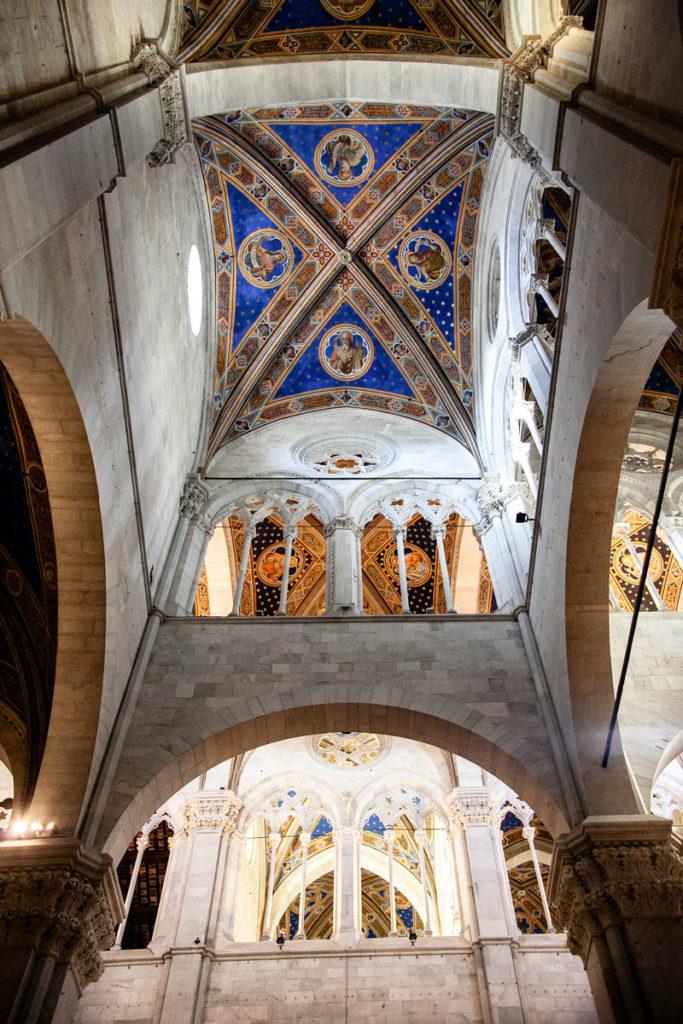 Particolare degli interni del duomo di Lucca - Soffitto e Porticato