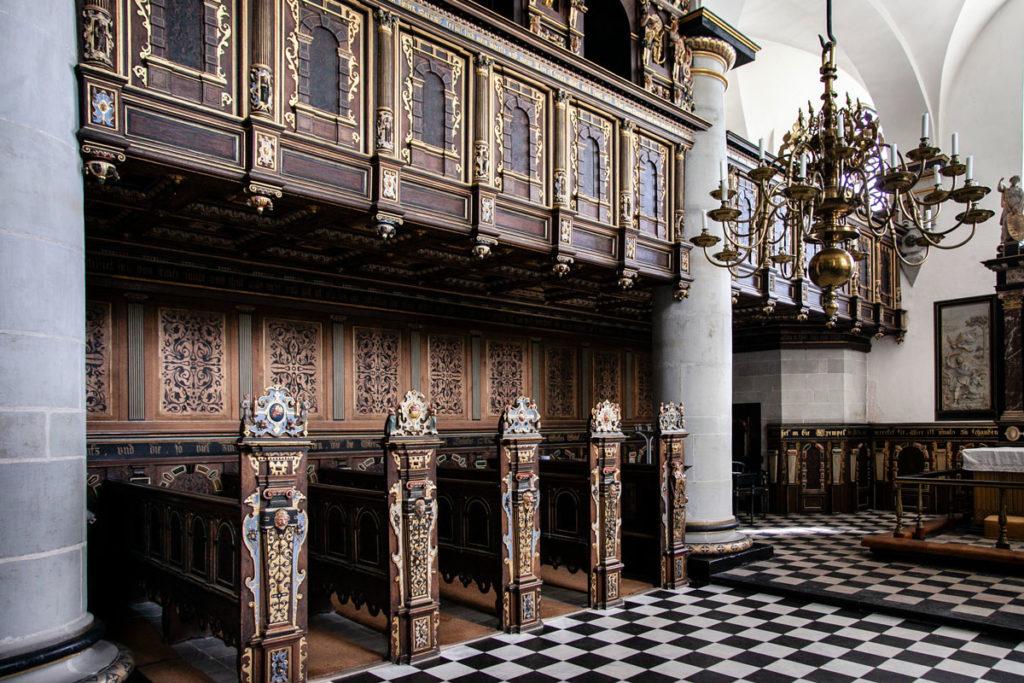 Arredi in legno originali e intarsiati di Kronborg Slot ad Helsingør