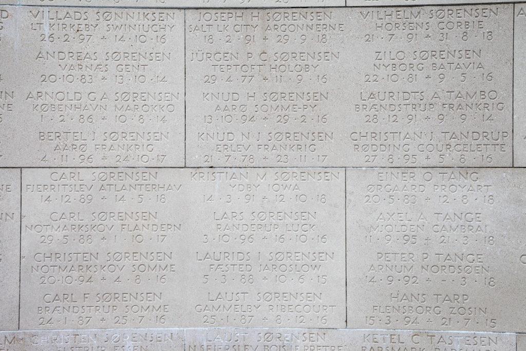 Marselisborg monumentet - Nomi dei caduti durante la guerra
