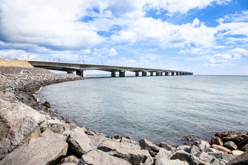 Panorama sul Ponte Storebæltsbroen visto da isola di Fyn