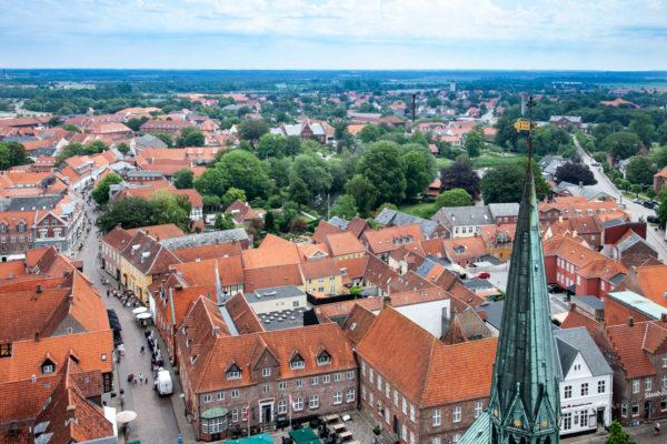 Panorama sulla città di Ribe - Vista dalla Torre Borgertarn della Cattedrale