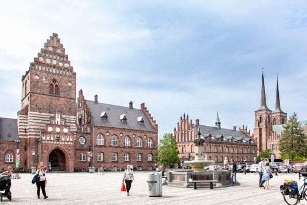 Piazza Stendertorvet - Roskilde - cattedrale e vecchio municipio e fontana