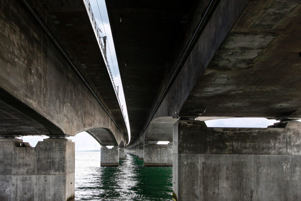 Ponte Ovest Storebæltsbroen - Sezione per traffico ferroviario e traffico stradale