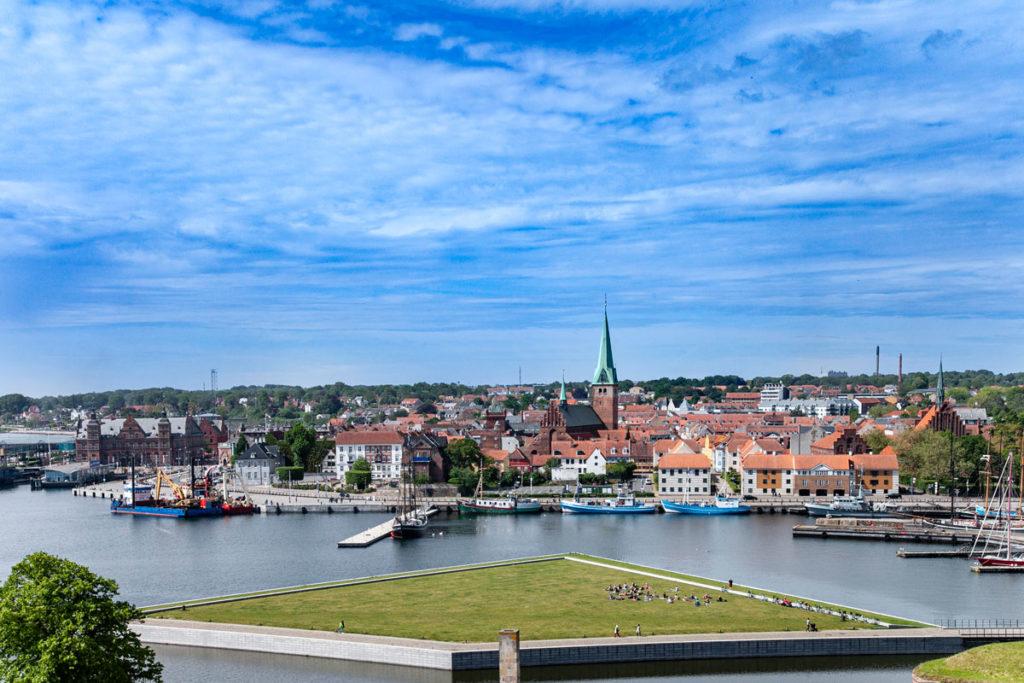 Vista di Helsingør dalla Torre del Cannone del castello di Amleto