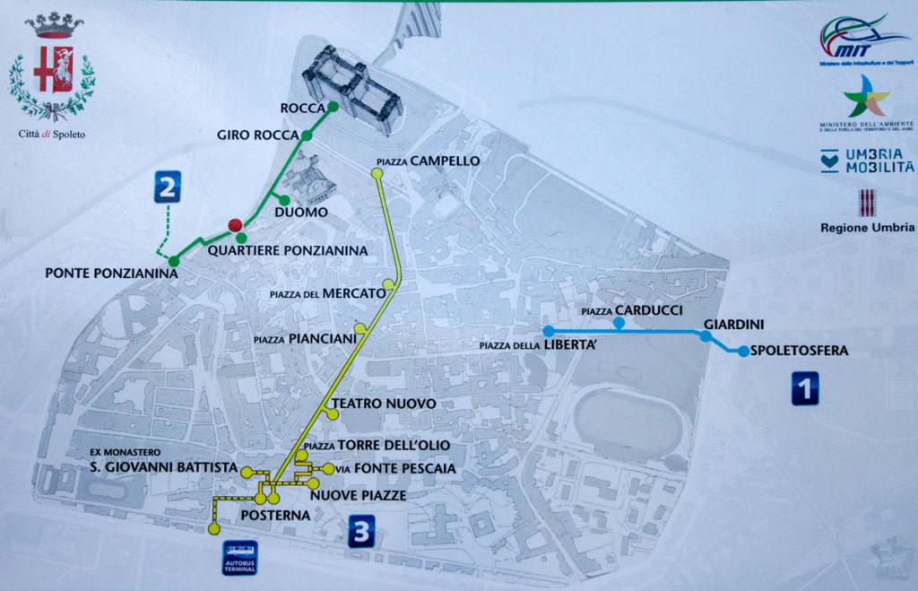 Mappa delle scale mobili di Spoleto