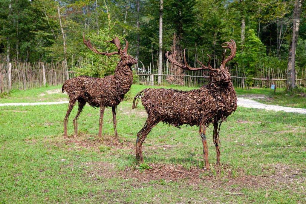 Cervi di Sally Matthews - Cervi in fil di Ferro e residui del bosco