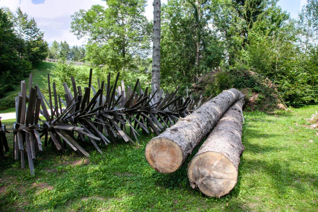 Il vento di Sella di Eliche e alberi crollati ad Arte Sella