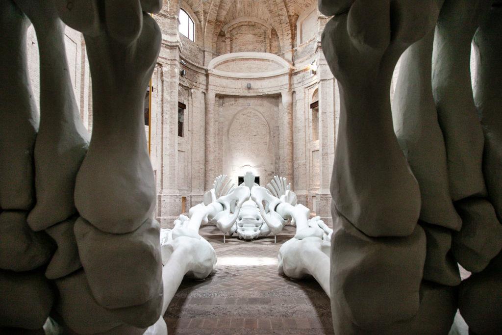 Lo scheletro di Gino de Dominicis da dietro i piedi