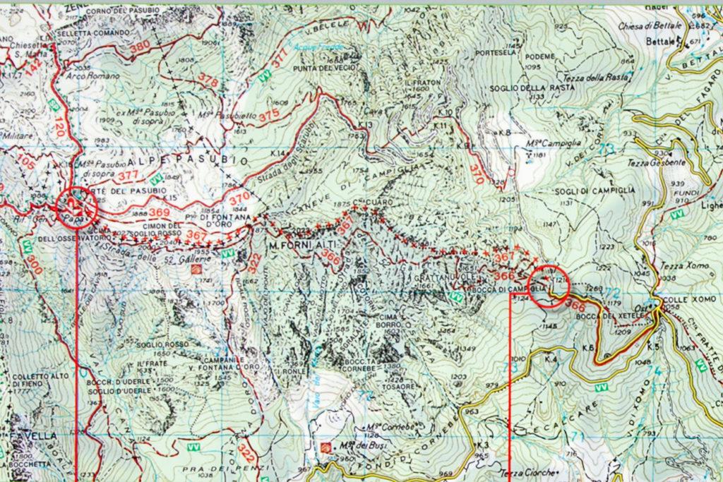 Mappa della Strada delle 52 gallerie e Strada degli Scarubbi- Trekking in Veneto