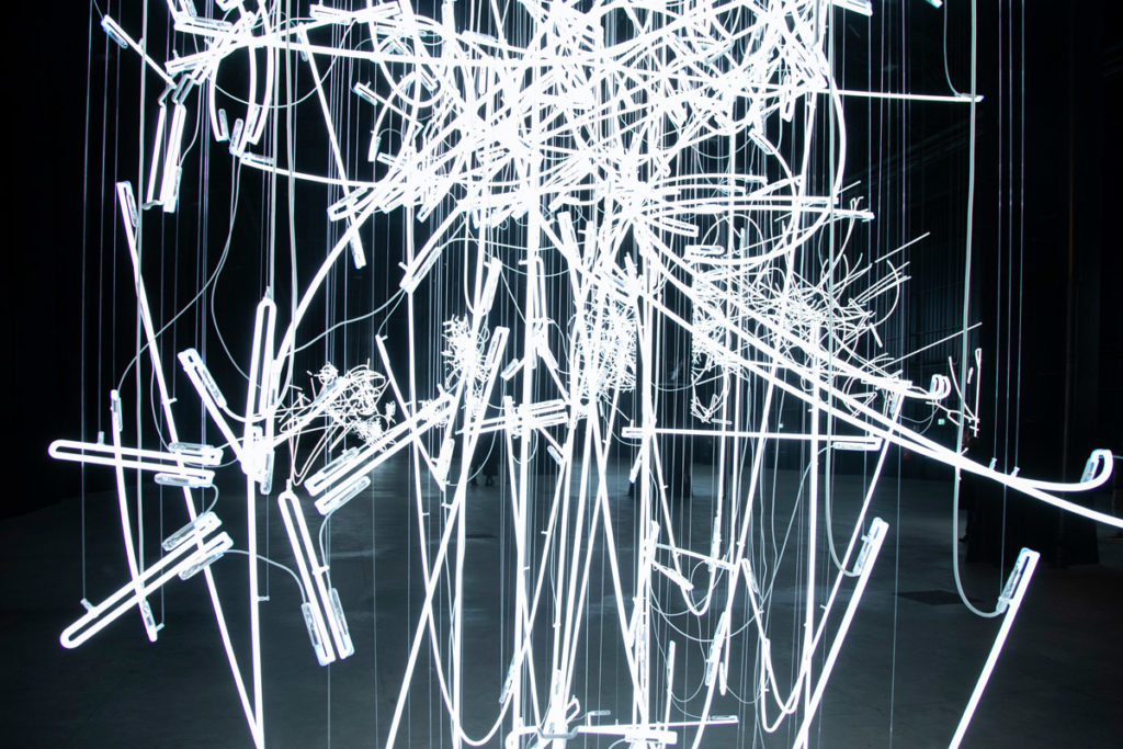 Neon Forms (after Noh) I - Tubi sinuosi di neon di Cerith Wyn Evans