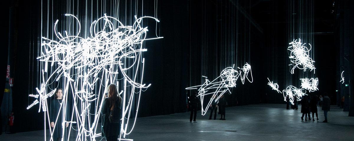Neon Forms (after Noh) - Le sculture di luce di Cerith Wyn Evans ad Hangar Bicocca