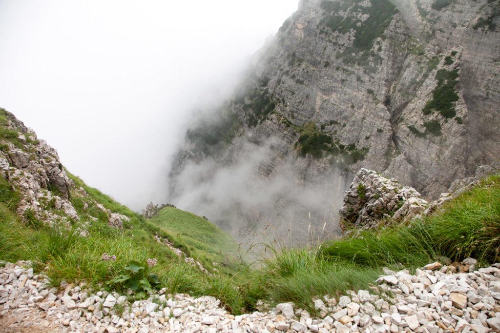 Strapiombo nella vallate del Monte Pasubio