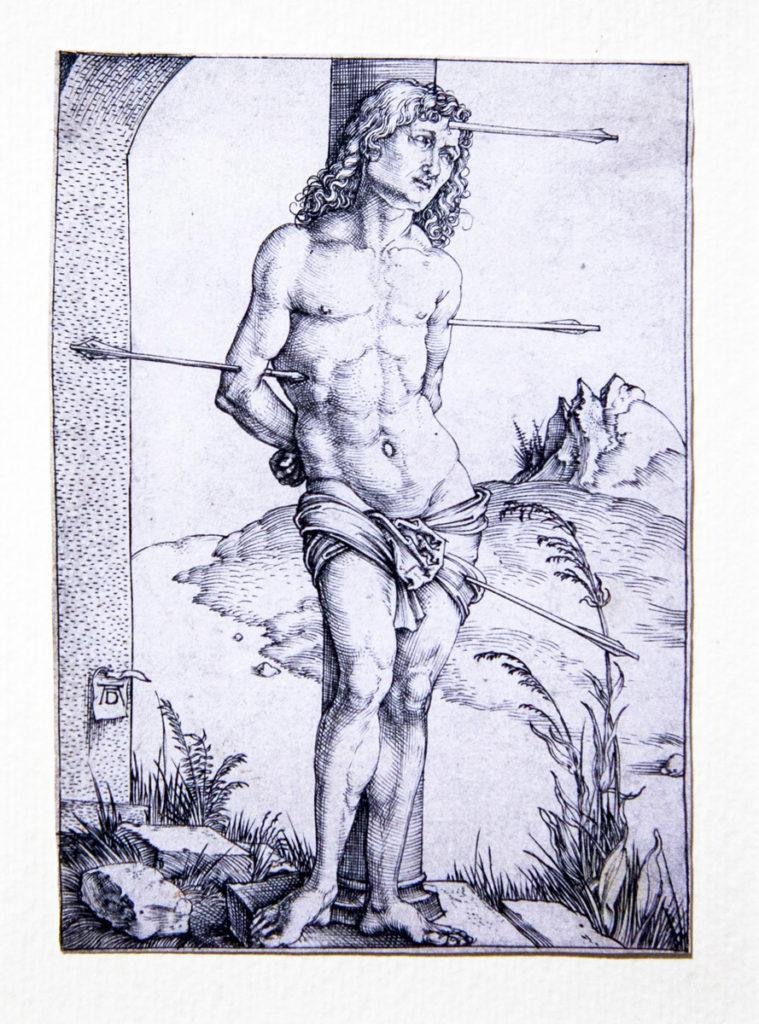 Bulino di Albrecht Dürer - San Sebastiano legato a una colonna (1499)