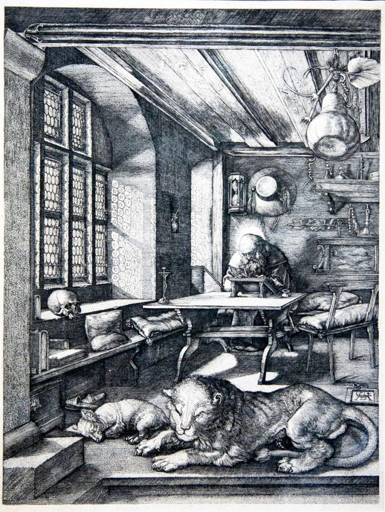 I Meisterstiche di Albrecht Dürer - San Girolamo nello studio (1514) - Calcoli e linee di fuga convergenti