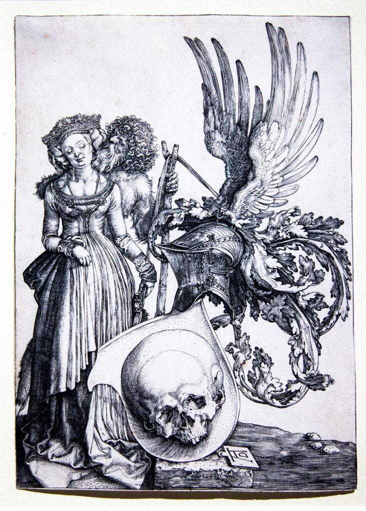Le insegne delle morte (il blasone con il teschio) - Bulino di Albrecht Dürer del 1503