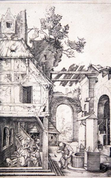 Teatrino Prospettico dentro alla Natività del 1504 con linee di fuga convergenti a sinistra - Albrecht Dürer