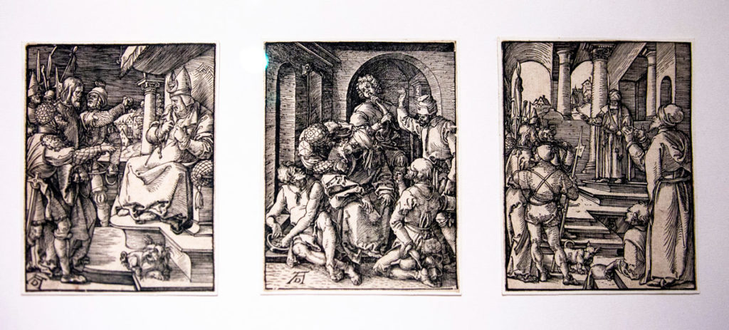 Xilografie di Albrecht Dürer sul tema Cristiano - Cristo davanti a Caifa (1508/1509) - Cisto deriso (1508/1509) - Cristo davanti a Pilato (1508/1509)