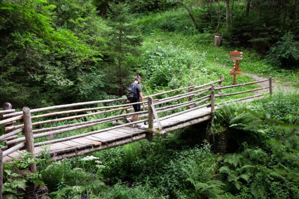 Ponte in legno nel trekking delle rogge di Sluderno