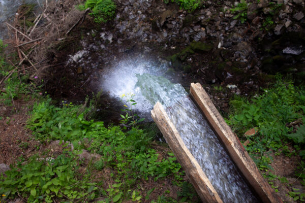 Tronchi di larice scavati come canali per acqua