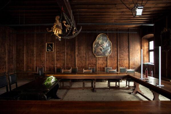 Sala del Consiglio e lampadario che ha ispirato Albrecht Durer